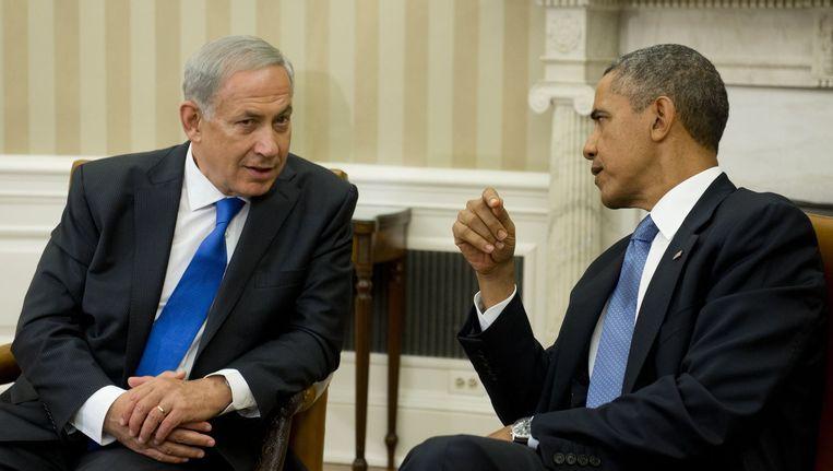 Geboterd heeft het nooit tussen president Barack Obama en zijn Israëlische collega Benjamin Netanjahoe. Beeld afp