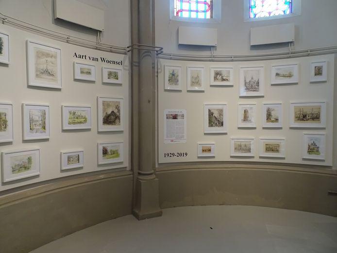 Een gedeelte van de tentoonstelling met werken van Aart van Woensel in DePetrus.