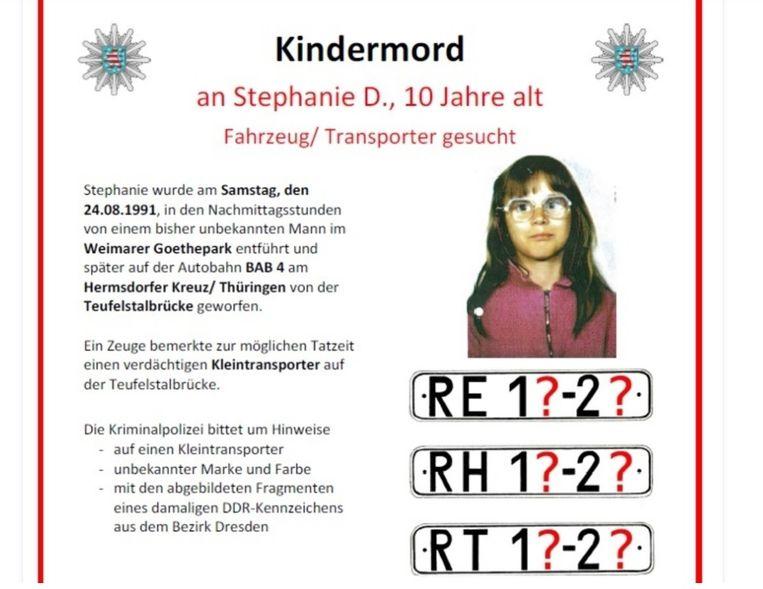 Na de moord op het Duitse meisje Stephanie Drews (10) werd deze oproep tot getuigen gelanceerd.