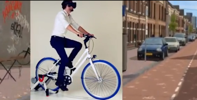 De Cyclespex, virtual reality fietssimulator van NHTV Breda.