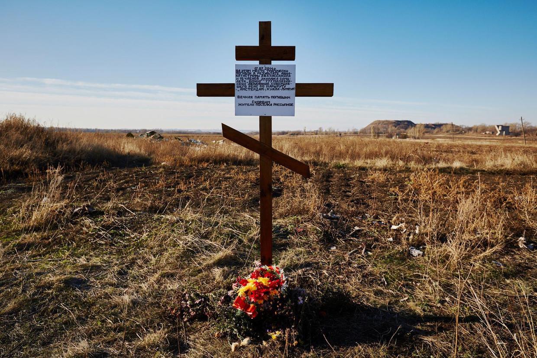 Herdenkingskruis voor de slachtoffers van de gecrashte vlucht MH17 . Beeld anp