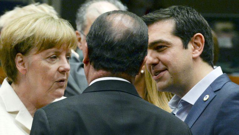 Angela Merkel, Francois Holland en Alexis Tsipras. Beeld ap