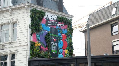 Ontploffing van kleur: verzorgingsmerk laat kunstenaar losgaan op Antwerpse gevel