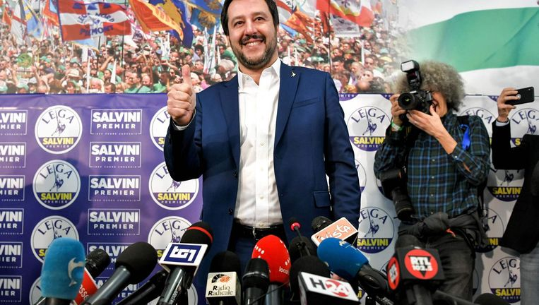 Lega-leider Salvini, de held van extreem-rechts. Beeld afp