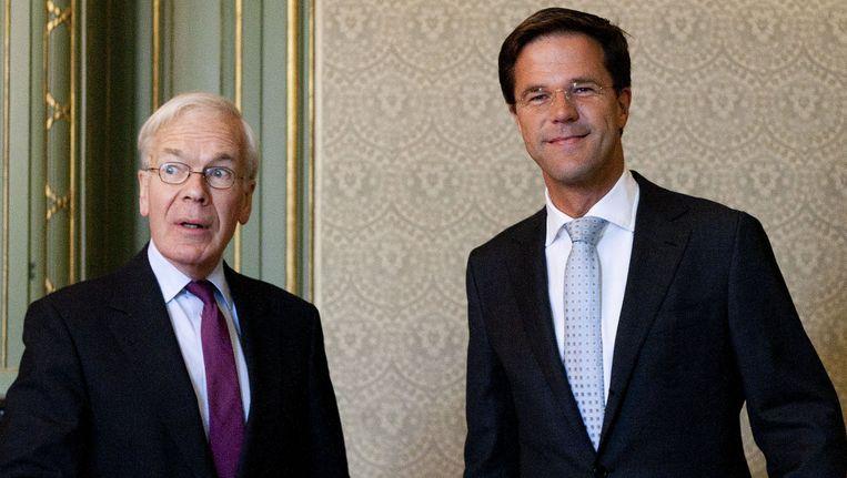 VVD-leider Mark Rutte rechts, naast Herman Tjeenk Willink. Archieffoto. Beeld ANP