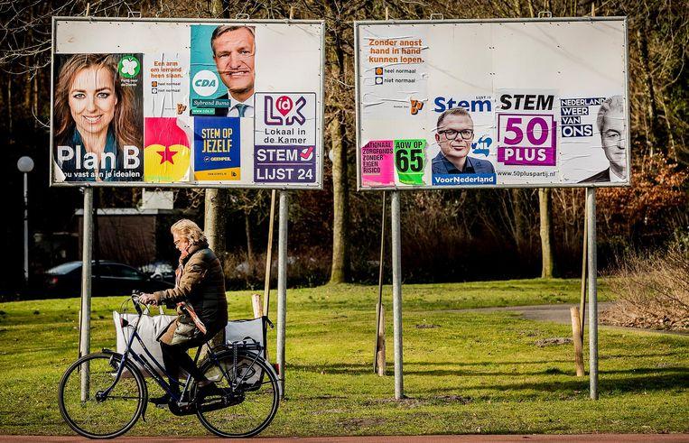 Verkiezingsborden in Bloemendaal. Beeld anp