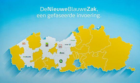 In de 'witte' regio's wordt voortaan de Nieuwe Blauwe Zak gebruikt.