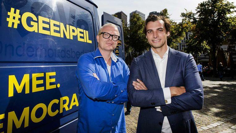 Initiatiefnemers van GeenPeil: Thierry Baudet (r) en Jan Roos. Beeld anp