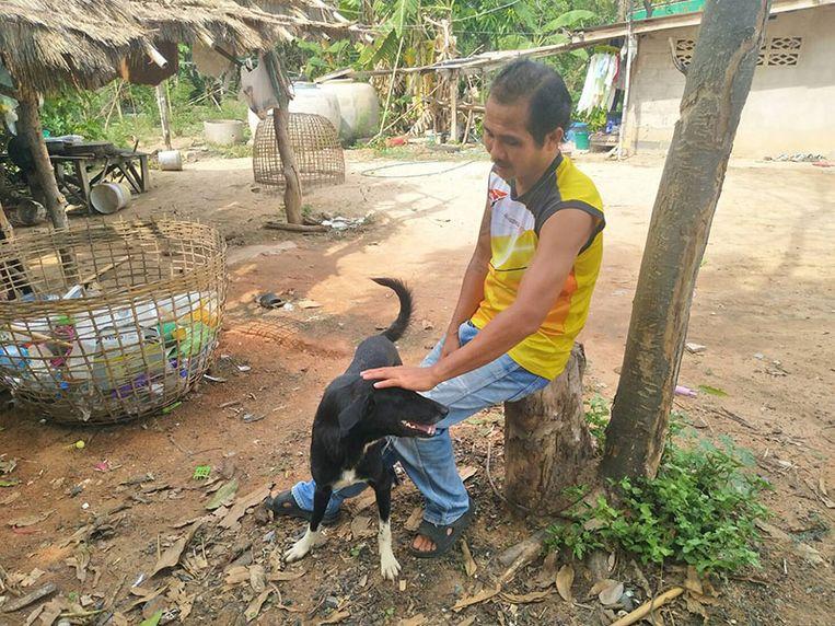 De 6-jarige hond Ping Pong die maar drie poten heeft, is de held van het dorp.