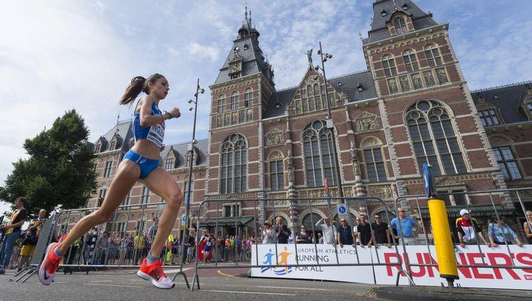 Hardloopster voor het Rijksmuseum vorig jaar Beeld afp