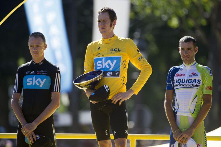 Vlnr.: Chris Froome, Bradley Wiggins en Vincenzo Nibali.