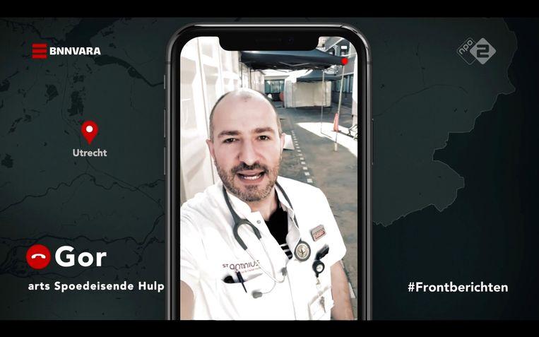 Arts Spoedeisende hulp Gor Khatchikyan voor de lege triage-tent Beeld Maaike Bos