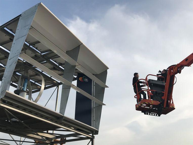 Een van de wind- en zonneboxen van het testproject in Utrecht. Beeld -