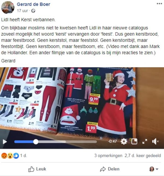 Gerard de Boer heeft zijn post inmiddels verwijderd.