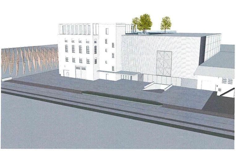 Er wordt een nieuw magazijn, een nieuwe winkel en een bezoekersplaats met degustatieruimte op het dak bijgebouwd tussen het huidige magazijn en het hoppeveld.