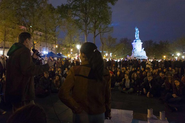 De beweging bezet sinds eind maart elke avond de Place de la République in het centrum van Parijs.