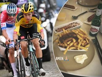 """Van Aert legt uit hoe hij de spurt verloor, maar is niet al te ontgoocheld: """"Snel pak friet met wat pinten erbij"""""""