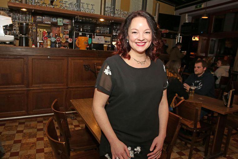 Goedele Van Ruysevelt in café De Sleutel in januari 2018, toen ze aankondigde op de CD&V-lijst te staan voor de gemeenteraadsverkiezingen.