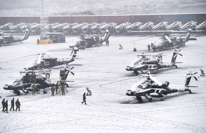 Archief. De aankomst van Amerikaanse troepen in Zeebrugge op 30 januari 2019 in het kader van Atlantic Resolve, weliswaar ondergesneeuwd.
