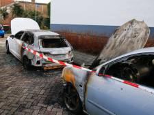 Brand verwoest twee geparkeerde auto's in Alblasserdam
