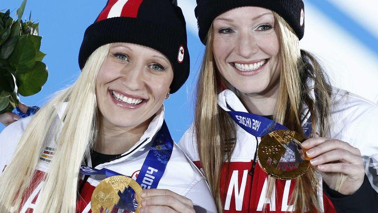 De Canadese Olympisch kampioene Kaillie Humphries (links) wil nu in de mannencompetitie met de besten meestrijden. Beeld epa