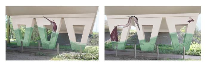 Dit werk komt onder het viaduct bij het Bels Lijntje. Het ontwerp is van Jori van Boxtel.