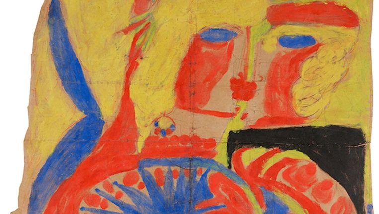 Aloïse Corbaz, Scène met een gebloemde zkus in gouache, 1947. Beeld Aloïse Corbaz