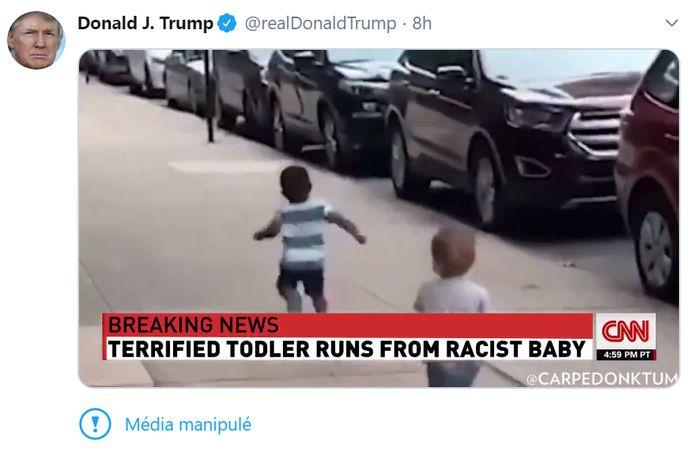 """Le tweet comporte la mention """"média manipulé"""" pour signaler aux internautes qu'il s'agit d'une vidéo trafiquée."""