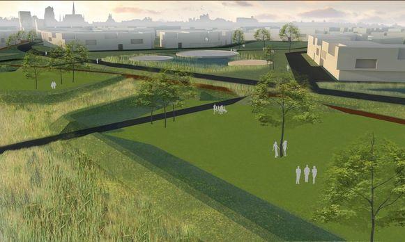 Paden kronkelen door de toekomstige woonbuurt Suikerpark