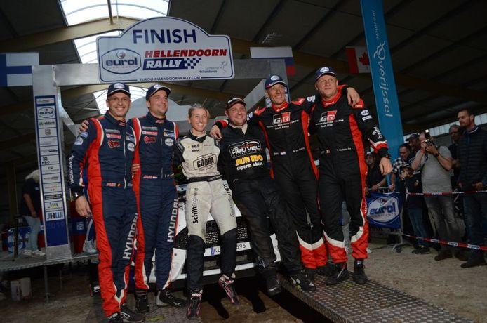 Winnaars van de Eurol Hellendoorn Rally 2019 Jasper van den Heuvel en Lisette Bakker, gevolgd door Bernhard Ten Brinke en Tom Colsoul  op plek twee en als derde Bob De Jong en Bjorn Degandt