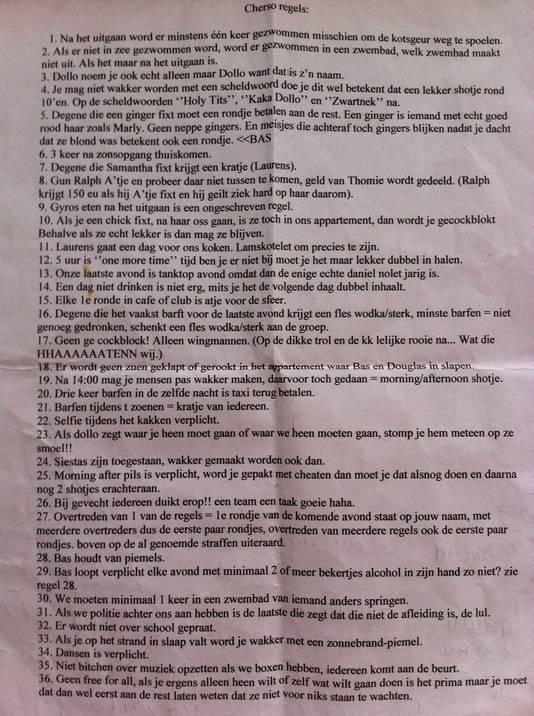 De lijst met 'Cherso-regels'.