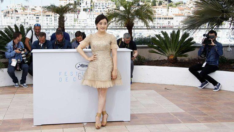 De Zuid-Koreaanse actrice Seo Young-Hee op het Cannes Film Festival vandaag, mét hoge hakken. Beeld anp