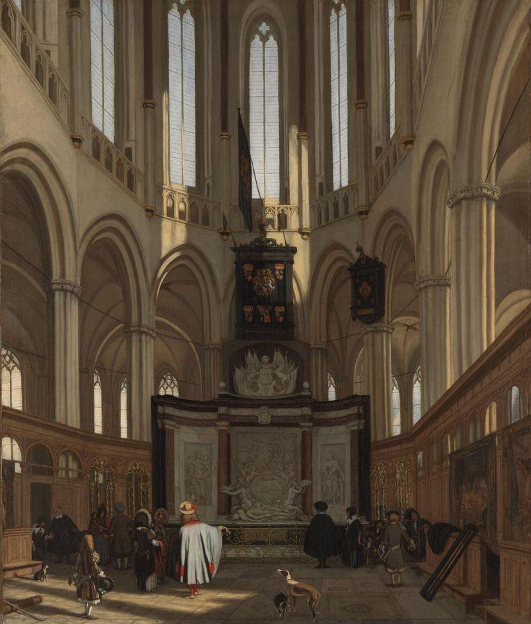 Het praalgraf van De Ruyter in de Nieuwe Kerk te Amsterdam, Emanuel de Witte, 1683. Beeld null