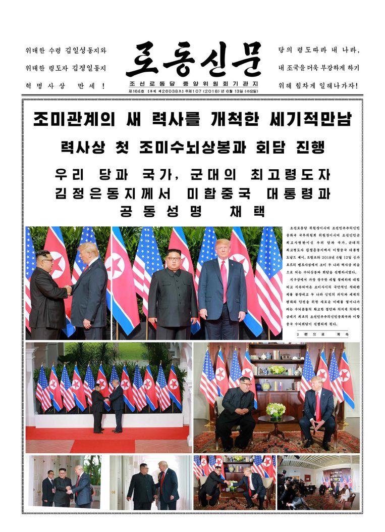 De Noord-Koreaanse krant was lovend over de ontmoeting. Beeld