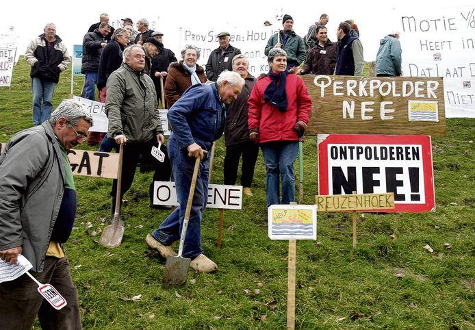 Actievoerders tegen de ontpoldering, archieffoto 2017