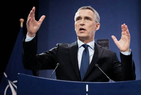 Jens Stoltenberg vandaag tijdens een NAVO-persconferentie.
