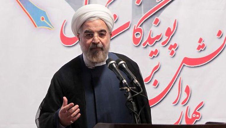 Rohani spreekt op de universiteit van Teheran. Beeld afp