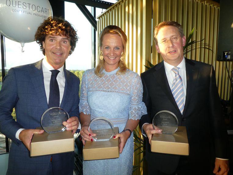 Awardwinnaars Ralf Meppelder (Kasteel de Wittenburg), Lizette Lulofs (Rituals) en Paul Holland (Questocart):