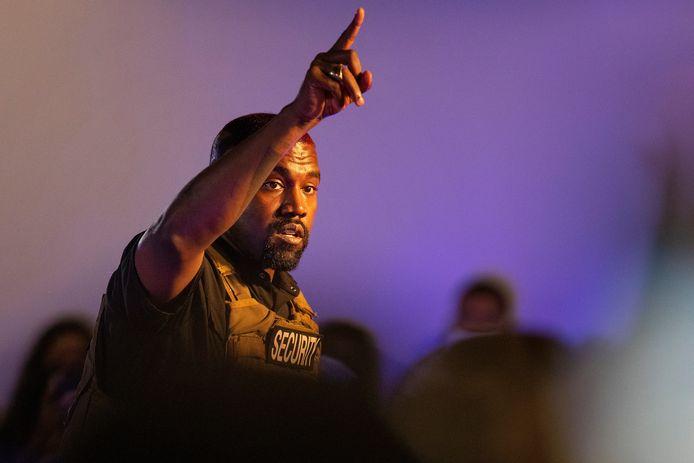 Kanye West tijdens de verkiezingsrally