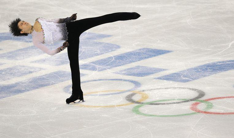 De Japanse kunstschaatser Yuzuru Hanyu in de Iceberg Skating Palace. Beeld ap