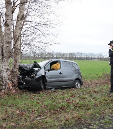 Bestelbus komt naast de weg en knalt op een boom bij Vilsteren
