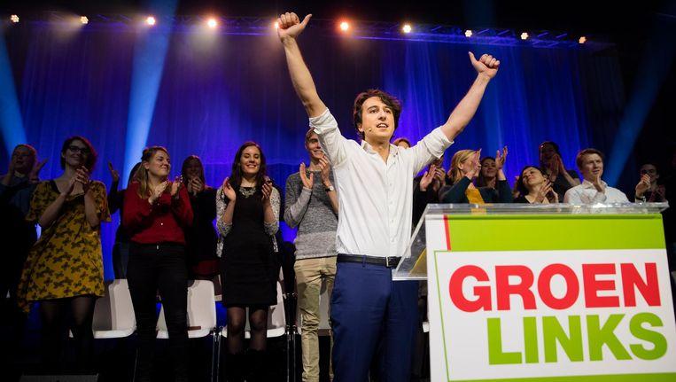 Jesse Klaver tijdens het verkiezingscongres van GroenLinks. Beeld anp
