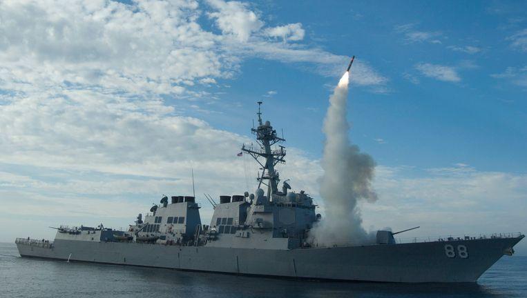 Archiefbeeld van een raket die wordt afgevuurd vanaf de USS Preble, een schip van de Amerikaanse marine. Beeld epa