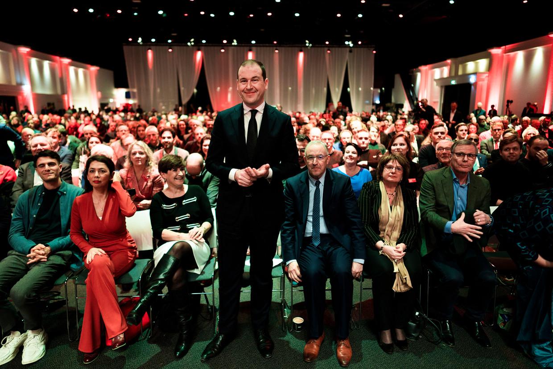 PvdA-leider Lodewijk Asscher voor zijn toespraak tijdens het jaarlijkse partijcongres. Beeld Freek van den Bergh / de Volkskrant