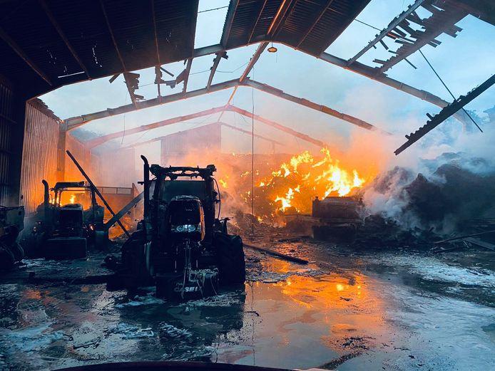 La ferme de la Cour Daloze à Buzet (Pont-à-Celles) est parti en fumée