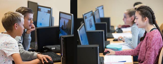 Brugklassers van het Streek krijgen les 'Geo Future'.