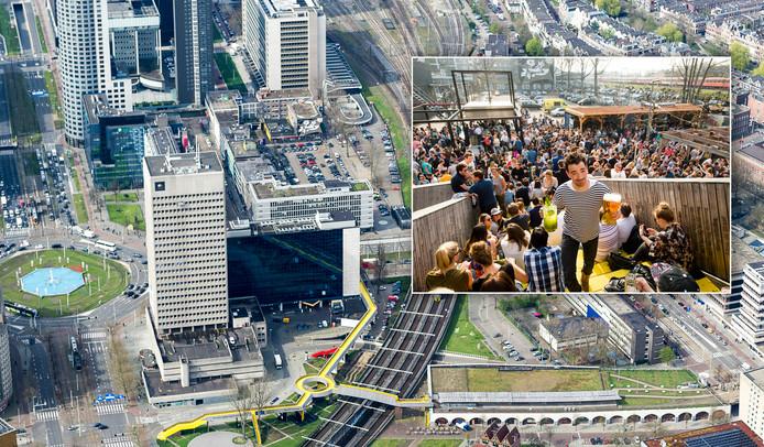 Het Hofplein met rechts ervan het Schieblock in het centrum van Rotterdam. Luchtfoto Jan Kok, inzetje Marco de Swart