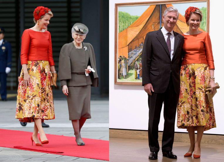 Mathilde bij een bezoek aan Japan in 2016 (rechts) en in Canada (2018).