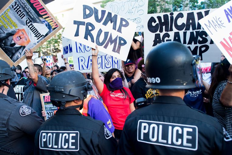 Een anti-Trump demonstratie in San Jose, Californië. Beeld ap
