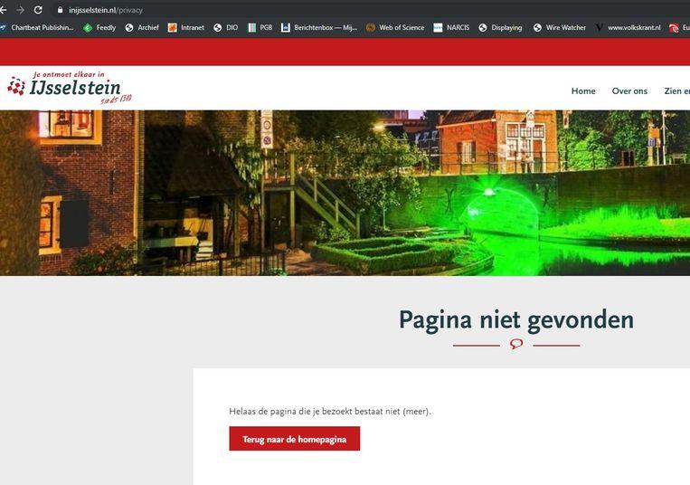 De gemeente IJsselstein verwijst vanuit haar cookiemuur naar een privacyverklaring die niet bestaat. Beeld IJsselstein.nl